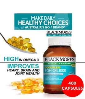 Free postage.. Blackmores Big bottle 400 capsules Fish Oil (Omega 3)