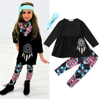 Infant Baby Girl Clothes Set Top T Shirt Floral Pants Headband Outfit Party