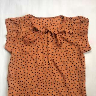 Cute PolkaDots Comfy Top (Tangerine-Brown)