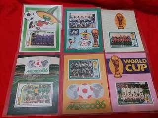 墨西哥86 世界盃 紀念郵票 六個