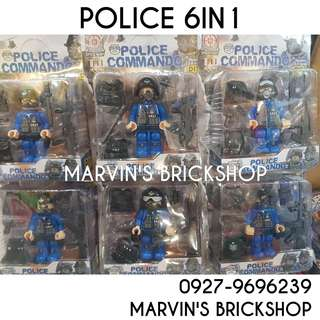 POLICE 6in1 set 4 Inch Figure Building Block Toy