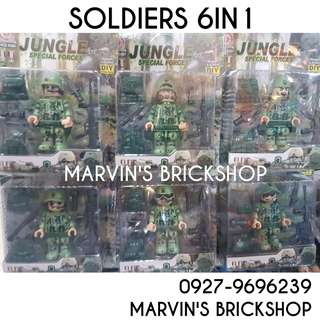 Military Soldier 6in1 set 4 Inch Figure Building Block Toy