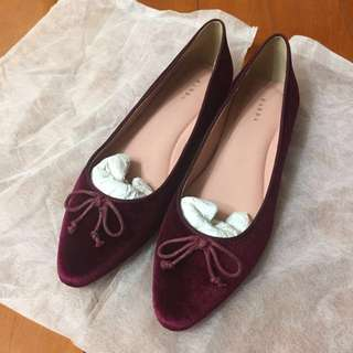 Burgundy Red Flats with Ribbon Size 245