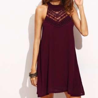Wine Lace Halter Swing Dress