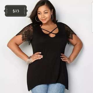 Plus size sexy crisscross top