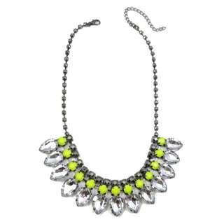 BN H&M Neon Yellow Teardrop Diamante Bib Statement Necklace