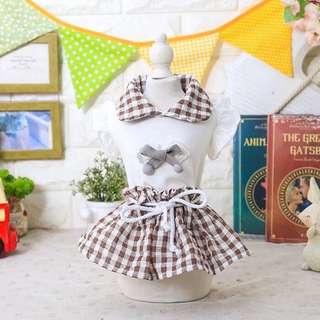 🚚 素雅娃娃領格子裙兩腳裝
