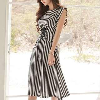 🔱 Corset waisted Detail stripe cotton Dress