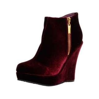 Boohoo Velvet Wedge Booties - Size 10