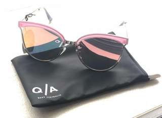Brand New Quay Australia Cat Eye Sunglass in Pink Frames