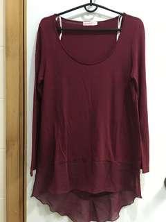 Supre burgundy long sleeves top