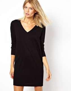 V neck knitted sweater / jumper dress