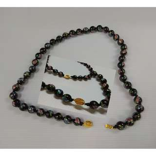 Chinese Hand Painted Black Flowers Design Round Porcelain Bead Necklace