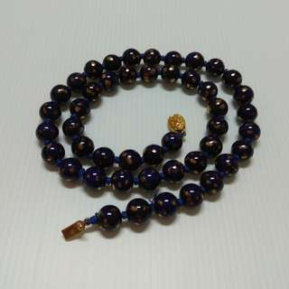 Royal Blue Hand Painted Round Chinese Porcelain Bead Necklace Gold Pattern