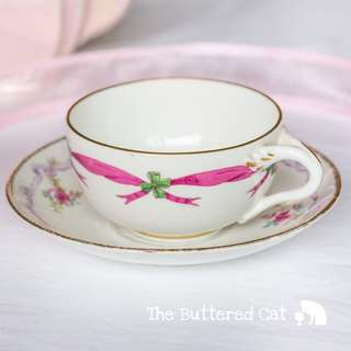 Mix and match hand-painted, decorated antique English china teacup and saucer, pink, lilac ribbons