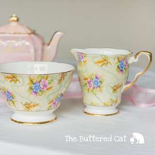 Very pretty vintage floral chintz creamer set, sweet, kitschy 1950s chintz