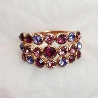 3-row Multi Colored Sparkling Gemstones Ring