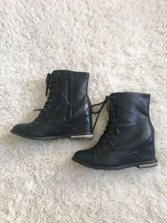 Faux leather wedge booties size 7