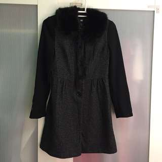H&M Coat with Faux Fur Collar