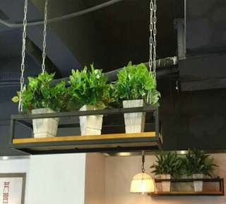 Industrial chain hanging ceiling shelf