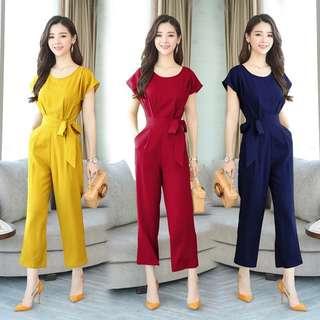 (M~3XL) Siamese Pants Women's Summer Ladies Oriental Dress Belted Jumpsuit Jumpsuit
