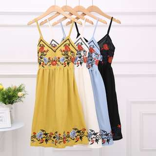 PO* Floral Embroidery Spag Dress (Free Mailing)