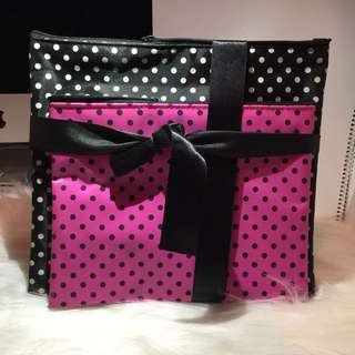 桃紅色黑色波點袋 Peach Black Polka Dots Cosmetic Travel Makeup Bags