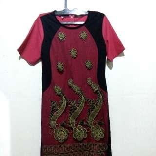SLIM fit Midi Dress Pink Lace