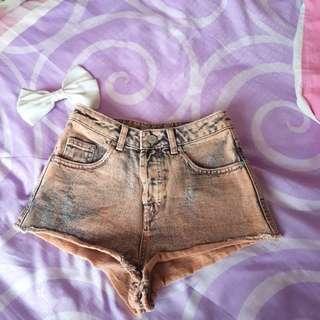 Topshop Orange Acid Wash Denim Booty Shorts