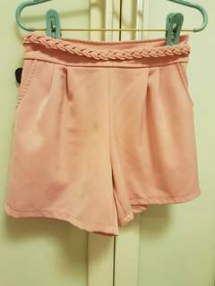 Pretty Pink Shorts with Plaid Belt Detail and Pockets Chiffon High Waist