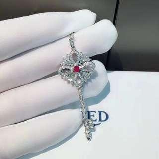 Tiffany 蒂芙尼 全鑽紅寶鎖匙項鏈