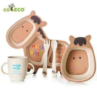 美國🇺🇸竹纖維兒童餐具五件組(小馬)