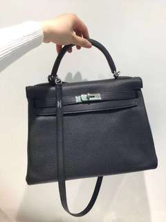 Most Wanted⚡️Hermes Kelly 32 Black Togo PHW Stamp R