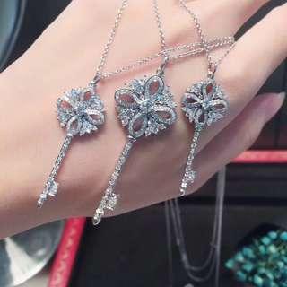 Tiffany 蒂芙尼 大版細版全鑽鎖匙項鏈
