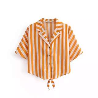Europe and US 2018 Summer Loose Thin Yellow suit Bottom Pendant Stripe Short-sleeved shirt