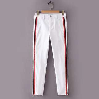 Europe and US 2018 summer Slim was thin belt decorated high waist bottom casual pants