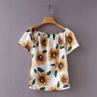 Europe and US 2018 summer loose thin collar short-sleeved sunflower print wild shirt