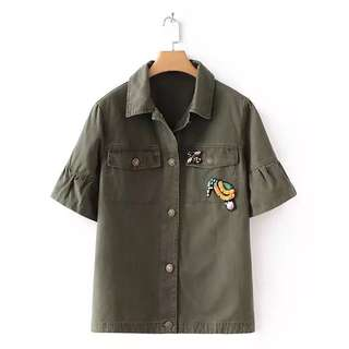 Europe and US 2018 summer loose thin short-sleeved lapel sequins decorated horn sleeve army green coat jacket