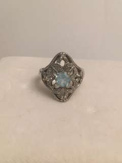 Vintage  genuine Aquamarine & Sterling silver stone ring