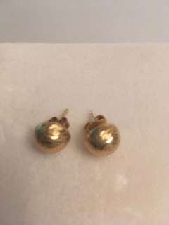 14K gold  chunky button  stud earrings