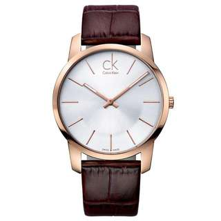 CITY SILVER DIAL BROWN LEATHER MEN'S WATCH K2G21629