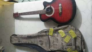 Acoustic Guitar With String,Capo&Bag