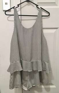 Isla Ruffle Striped Playsuit