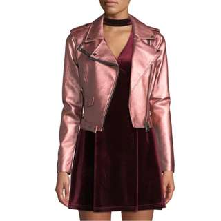 Brand New Romeo & Juliet Couture Matte Metallic Faux-Leather Motorcycle Jacket