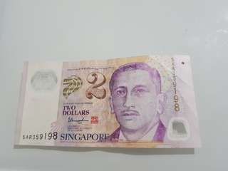 $2 note faded