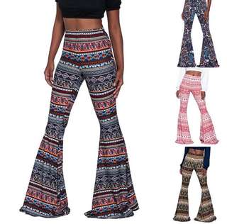 Boho High Waist Bell Bottoms Flared Pants (PO)