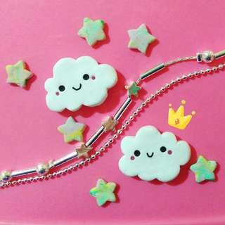 KAWAII CLOUD CABOCHONS handmade, polymerclay, phone decoration, cute amd kawaii #20under