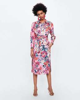 Europe and the United States Women's new flower print shirt dress