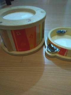 SALE Wooden drums & tambourine