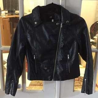 H&m black leather zip up jacket m